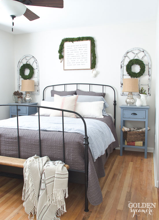 Cozy neutral Christmas bedroom