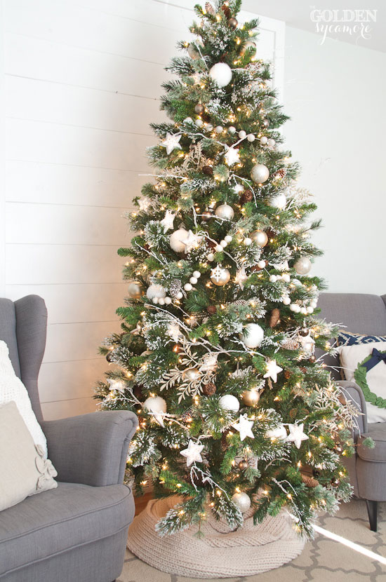 Neutral cozy glam flocked Christmas tree