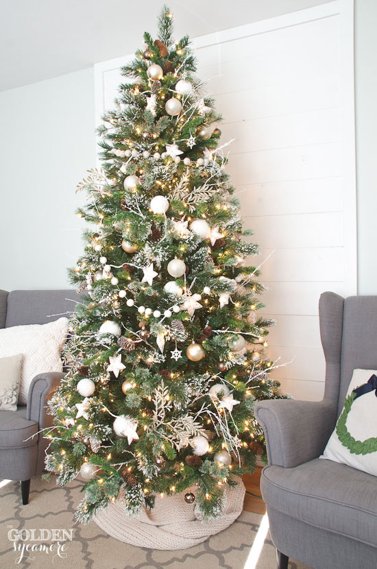 Neutral flocked glam Christmas tree