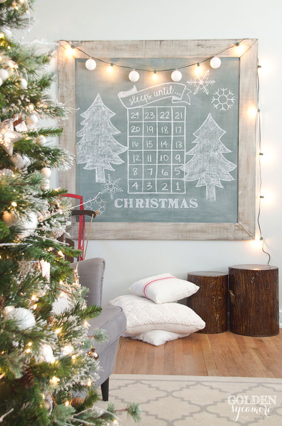 Sleeps until Christmas extra large vintage green chalkboard