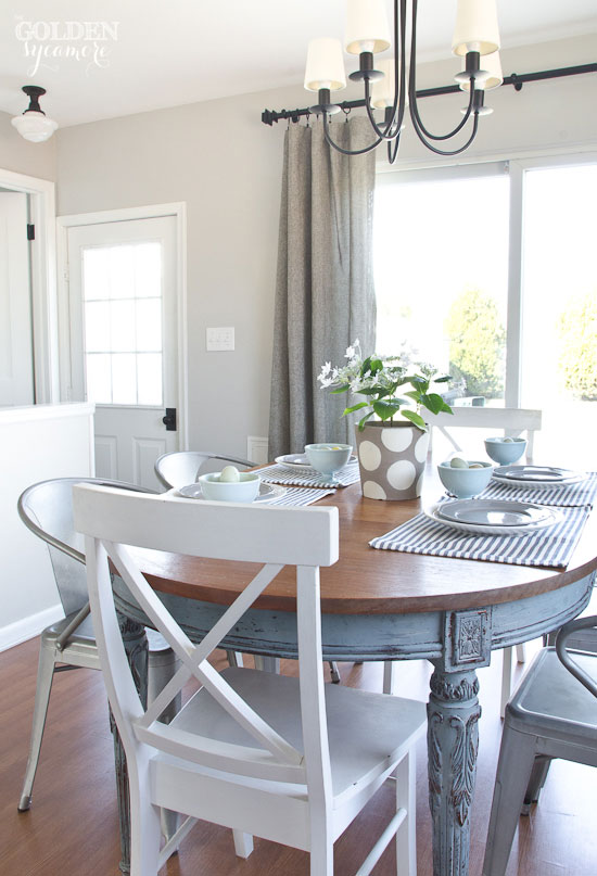 casual crisp clean spring dining room