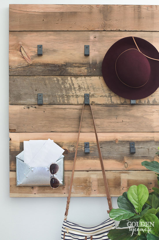 modern rustic DIY coat rack