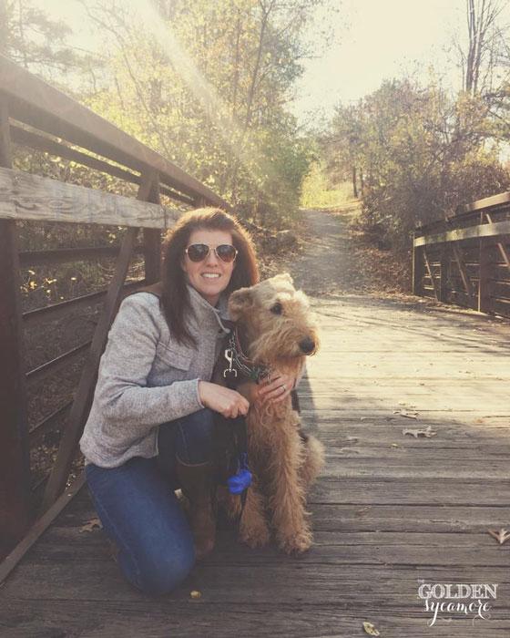 Bailey and Alli on fall bridge
