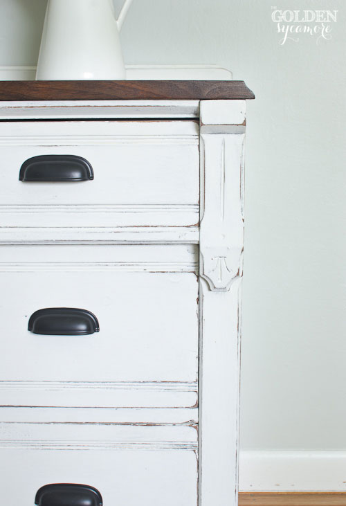 Beautiful details on white dresser makeover