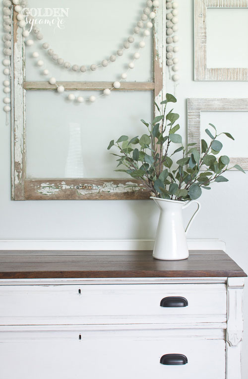 White dresser makeover with dark stained top