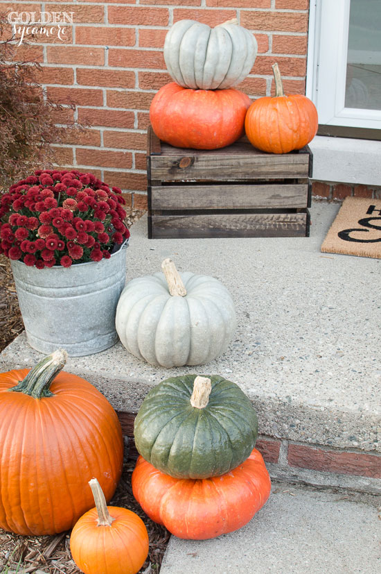 Colorful fall front porch decor with mums and pumpkins