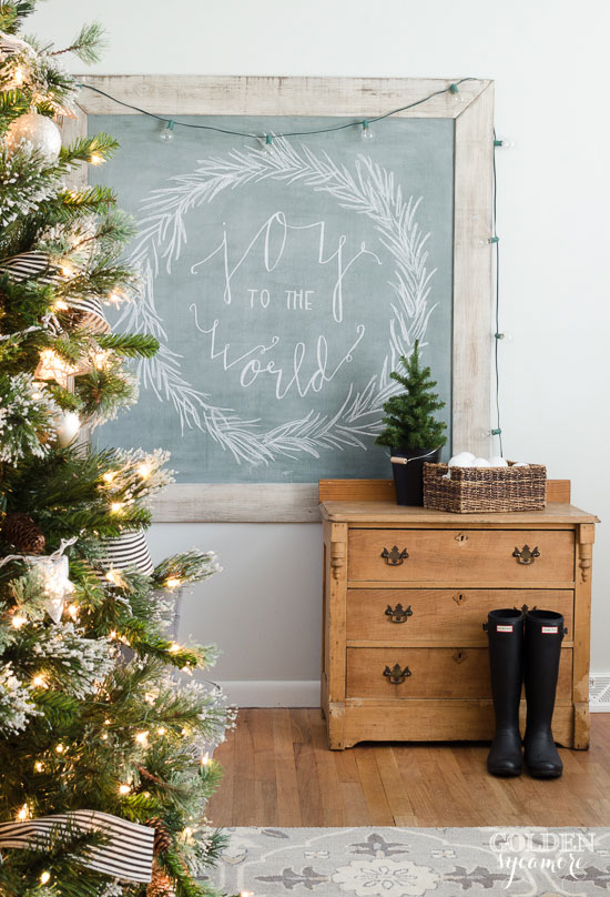 Extra large vintage green chalkboard joy to the world Christmas
